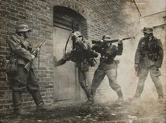 This image depicts the war tactics used during World War II, specifically blitzkrieg. Blitzkrieg was a german tactic that combined mobile forces with local firepower. After the war, militaries turned to atomic warfare instead of physical troop power, sparking the cold war.