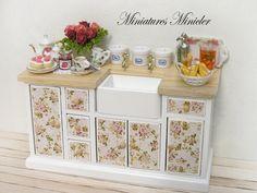 Miniatura casa de muñecas cocina comoda con lavadero Shabby Chic estilo