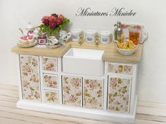 Miniature Dollhouse Kitchen Commode With Sink Shabby by Minicler