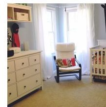 Like the shelving over the changing table...good use of wall space.