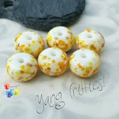 Lampwork Beads Yang Fritties by GlitteringprizeGlass on Etsy  Sometimes you need to make your own sunshine!  Trudi x  #glitteringprizeglass #lampwork #sunshine #beads #yellow #jewelrydesign #jewellerydesign