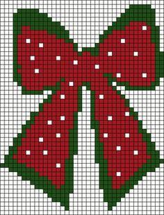 Xmas Cross Stitch, Cross Stitch Charts, Cross Stitch Designs, Cross Stitching, Cross Stitch Embroidery, Cross Stitch Patterns, Christmas Perler Beads, Plastic Canvas Christmas, Christmas Bows