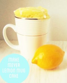 Meyer Lemon Mug Cake with Icing Recipe on We Heart Recipes