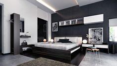 zwartwit slaapkamer met moderne decoratie  fotospecial, Meubels Ideeën