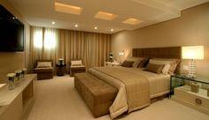 Quarto Casal em tons neutros - master suite- Projeto Sueli Adorni