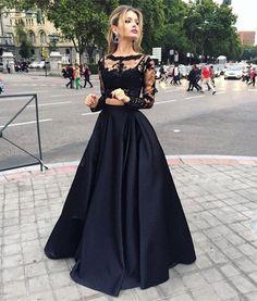 Sexy Black Prom Dress, Lace Long Sleeve Prom Dress,Prom Dress, Two Pieces Prom Dress, Long Evening Gown, High Quality Wedding & Evening#promdress2018#graduationdress#2018eveningdress#dress#dresses#gowns#partydress#longpromdress