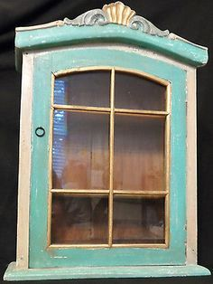 Unusual Vintage Wall Curio Display Cabinet Painted Mahogany Gl Door And Sides