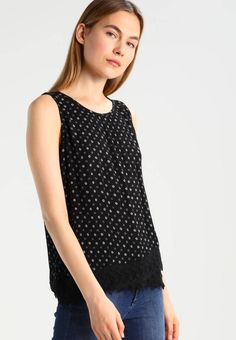 """Esprit. Blouse - black. Fit:regular. Outer fabric material:100% viscose. Our model's height:Our model is 71.0 """" tall and is wearing size 10. Pattern:Print. Care instructions:do not tumble dry,machine wash at 30°C,Machine ..."""