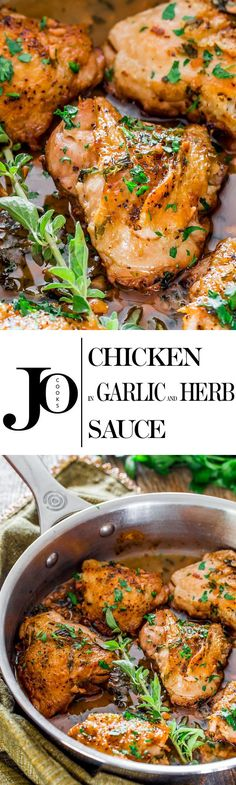 Chicken in Garlic and Herb Sauce - incredibly juicy chicken thighs in a simple and amazing garlic, herb and sherry sauce all in one pot. (I'm planning on using boneless, skinless chicken thighs. Turkey Recipes, Meat Recipes, Chicken Recipes, Dinner Recipes, Cooking Recipes, Healthy Recipes, Cooking Videos, Recipies, Detox Recipes