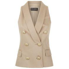 Balmain Shawl Lapel Sleeveless Blazer ($1,175) ❤ liked on Polyvore featuring outerwear, jackets, blazers, vest, shawl lapel blazer, slim fit double breasted blazer, slim blazer, balmain jacket and slim leather jacket