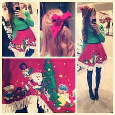 Tree skirt instead of tacky Christmas sweater - actually really cute!  So doing this for the party!!