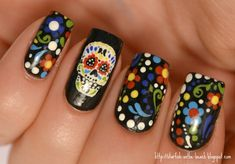 50'S Nails   ... Día de los Muertos and 31 Day Nail Art Challenge --- Day 26, Pattern