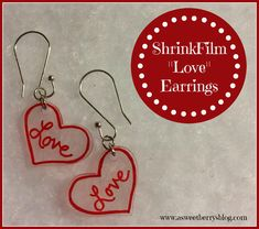 """ShrinkFilm """"Love"""" Earrings"""