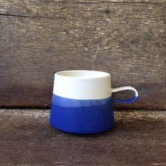 Handmade Copenhagen Mug in White  Cobalt by paperandclaystudio, $42.00