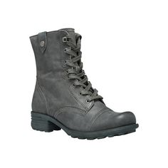 Women's Cobb Hill Bethany Boot - Grey Leather Combat Boots ($160) ❤ liked on Polyvore