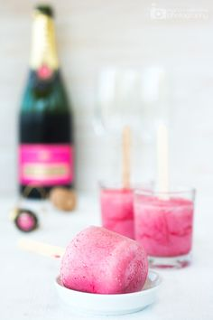 Raspberry champagne popsicles.
