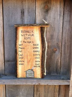 Redneck Weather Rope funny home decor handmade wooden great gift on Etsy, $24.00