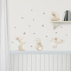 "Fabric Wall Decal ""BUNNIES with GRAY LEAVES"" Nursery wall decal, Watercolor decals, Woodland wall decal, bunny wall decal. Baby Room Design, Baby Room Decor, Nursery Wall Decals, Nursery Art, Nursery Paintings, Room Wall Painting, Discount Bedroom Furniture, Baby Kind, Textured Walls"