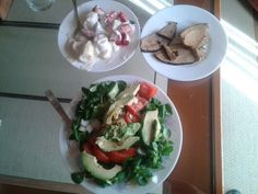 Abocado onion tomato and lime salad  Vegan fish. Yogurt with banana and strawberry
