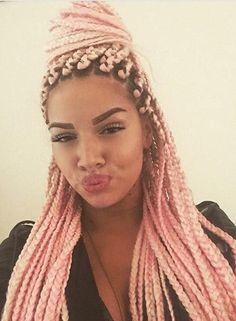 pink, braids, and hair image