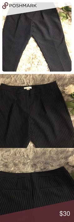 """Cato Women's Navy & White Pinstriped Slacks size 8 99% Polyester 1% Other Size: 8 Style: Straight Leg Color: Navy & White Pinstripe with Pleats Lined: No Front Closure: 1 Hook, 1 Button, 1 Zipper Belt Loops: No Front Pockets: Yes Rear Pockets: No, Faux Pockets  Waist: 32"""" Hips: 20"""" Front Rise: 9"""" Back Rise: 10"""" Inseam: 28-1/2"""" Outseam: 36-1/2"""" Leg Opening: 6-1/2"""" Issues to Note: None Cato Pants Straight Leg"""