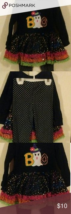 Girls Halloween Outfit Ruffle top, with matching pants leggings, light wear, like new.  Free gift with purchase. Bonnie Jean Matching Sets