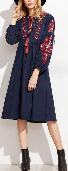 Navy Embroidery Tassel Tie Midi Dress