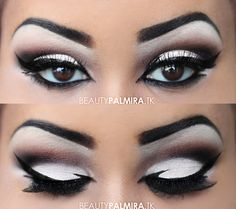 Pretty eye make up Pretty Makeup, Love Makeup, Makeup Looks, Hair Makeup, Black And White Makeup, Black White, Black Lips, Black Swan, White Swan