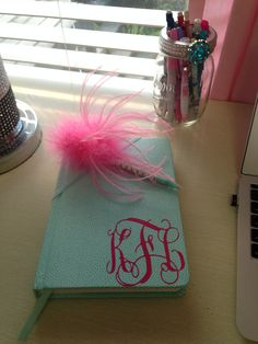 Monogrammed Initials in Vine Script for Journal or notebook