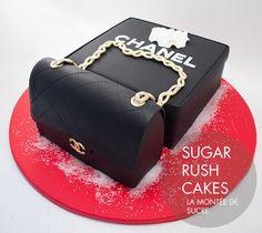 Chanel purse and box 25th Birthday Cakes, Elegant Birthday Cakes, Elegant Cakes, Coco Chanel Cake, Bolo Chanel, Fondant Cakes, Cupcake Cakes, Cupcakes, Sugar Rush