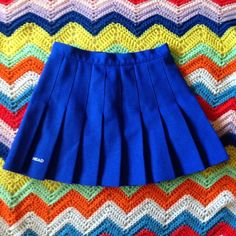 "Perfect 90s Royal Blue Tennis Skirt • Waist: 26/27"" Length: ~15"" • Beautiful royal blue color-- very unique! • Buttons and zips up the back • Not much stretch • Excellent condition, no flaws • Made in the USA Vintage Skirts Mini"