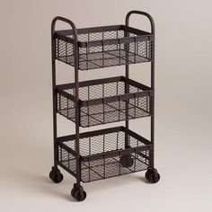 Keep life's little necessities at your fingertips with our Espresso Oliver Rolling Cart. This retro-inspired cart features mesh baskets for easy-to-see storage and double casters to roll it where you want it. Diy Storage Cabinets, Storage Cart, Bathroom Storage, Storage Baskets, Kitchen Storage, Rolling Utility Cart, Rolling Carts, Kitchen Organisation, Organization