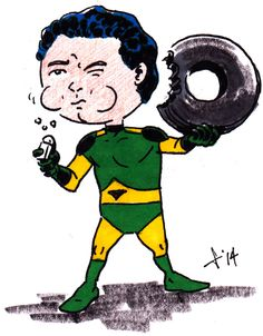 Hero A Day - 0207 - Matter-Eater Lad - Tastes Like Goodyear; Needs Salt - ink and color pencil on 20 lb. bond - Legion of Superheroes