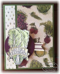 Stampin Up Market Fresh stamp set, Farmers Market designer paper.
