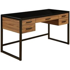 Office Star Products Eldridge Computer Desk, Black (460 CAD) ❤ liked on Polyvore featuring home, furniture, desks, black, black furniture, black home office desk, office star, office star furniture and black desk
