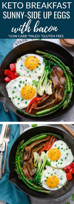 Low Carb Bacon and Eggs - a classic breakfast staple with tips to make perfectly fried eggs and the best crispy oven baked bacon. Perfect for breakfast or weekend brunch with sauteed asparagus, bok choy and red bell peppers. Brunch Recipes, Breakfast Recipes, Breakfast Ideas, Breakfast Platter, Dinner Recipes, Oven Baked Bacon, Waffles, Low Carb Recipes, Healthy Recipes