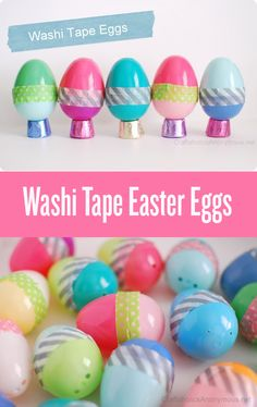Easter Eggs with Washi Tape || Cute idea for Easter! Love the idea of setting the eggs on Rolos for a candy egg stand.