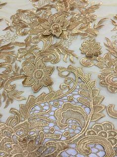 Gold Lace Fabric, Textile Design, Print Design, Textiles, Beads, Fashion, Beading, Moda, Fashion Styles