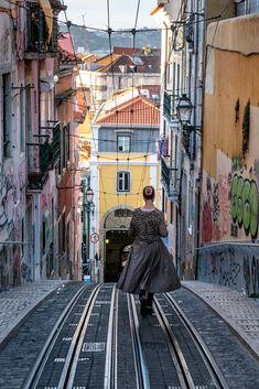 Lisbon tram tracks, Portugal
