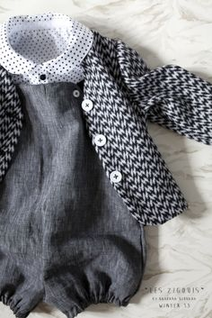 Grey, Black, and White Baby Set with Wool Coat by Les Zigouis