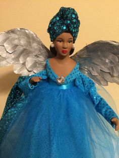 Silver Christmas Angel Tree Top African by Divineangelshop on Etsy