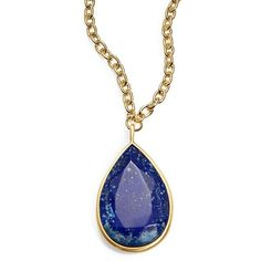 Karen Kane Tranquil Water Reversible Pendant Necklace ($98) ❤ liked on Polyvore featuring jewelry, necklaces, blue, blue jewelry, blue pendant, pendants & necklaces, resin pendants and karen kane