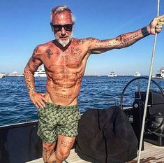 gianluca vacchi, old man with tattoos
