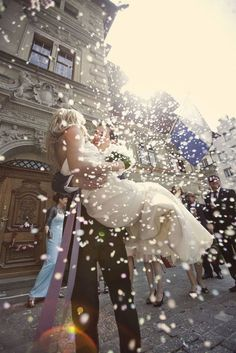 wedding photo action shot after wedding <3