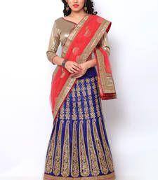 Buy Blue embroidered net unstitched lehenga choli lehenga-choli online
