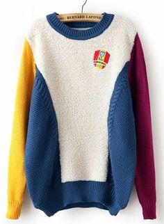 Jersey suelto de lana combinado manga larga-azul EUR€24.68