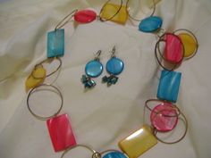 Geometric Sunset Necklace Earrings Jewelry Set Coral Turquoise Golden Yellow Summer Cruise Resort Wear