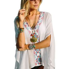 7fe69f6e0f0e8 Feiterawn 2017 Batwing Sleeves Loose Fit Tunic Beach Dress Embroidered Sexy V  Neck Flowy White Beach Cover Up Kaftan