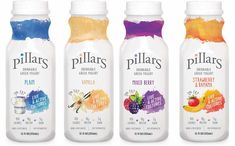 In the United States, Archway Food Group has introduced Pillars drinkable Greek yogurt in a range of four flavours. Yogurt Packaging, Dairy Packaging, Juice Packaging, Food Packaging Design, Beverage Packaging, Bottle Packaging, Packaging Ideas, Vanilla Greek Yogurt, Plain Greek Yogurt