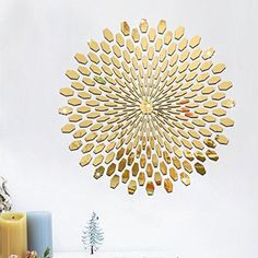 Yanqiao 225pcs/set 3D Circles Round Sunshine Pattern Living Room Bedroom Office Home Decoration Art Design DIY Acrylic Mirrors Wall Stickers,Gold